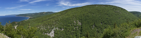 Panoramic View of Northwestern side of the Cabot Trail on Cape Breton Island. Stock Photo