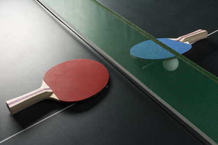 ping pong lighting. Ping Pong Paddles On A Table, Showing The Net With Harsh/Dramatic Lighting