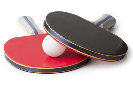 Red and Black Ping Pong Paddles on white - Top facing camera