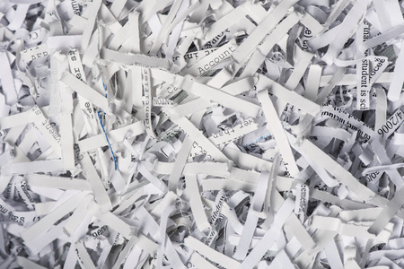 Closeup of Shredded Paper from a paper shredder Stockfoto