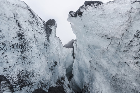 View of a Crevasse or Cavern formed in the ice on Sólheimajökull Glacier, Iceland
