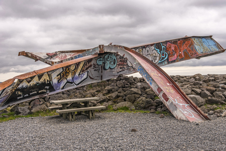 Skeiðará Bridge Monument in Southeast Iceland showing the remains of a bridge wiped out by glacial floods in 1996.