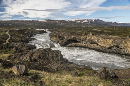 View of both Godafoss and Geitafoss waterfalls, Iceland 版權商用圖片