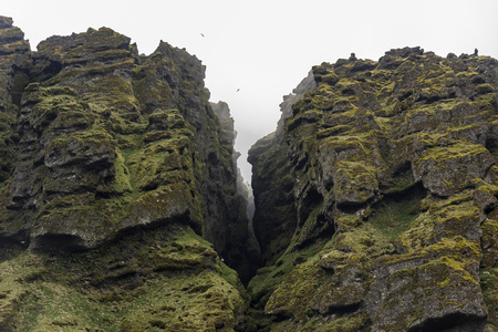 Closeup of Raudfeldsgja Gorge on a foggy day, Snaefellsnes Peninsula, Iceland Фото со стока