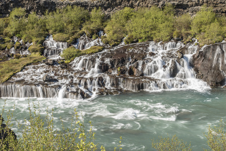 Hraunfossar Waterfall in Iceland - Wider angle, long exposure