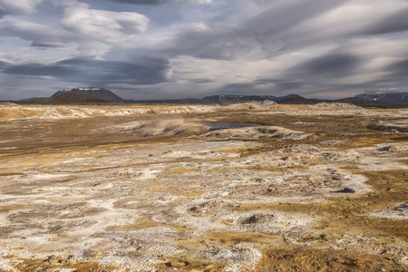 Landscape of HverirNamaskard Geothermal area near lake Myvatn, Iceland