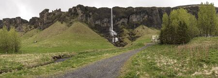 Panoramic view of Foss a Sidu in Iceland and the surrounding area.