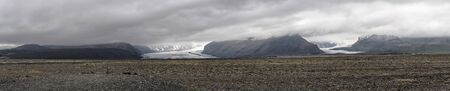 Panoramic view of Vatnajökull glacier, Iceland from a distance.