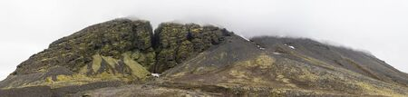 Panoramic view of Raudfeldsgja Gorge on a foggy day, Snaefellsnes Peninsula, Iceland