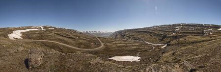 A Dirt Road (Route 939) with surrounding landscape in Eastern Region, Iceland (Panoramic)