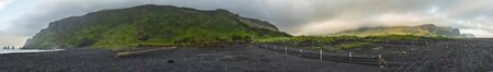 Extra-long panoramic image of Vikurfjara Beach near Vik, Iceland.
