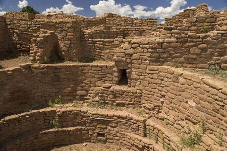 Detail of a circular pit in the Far House in Mesa Verde National Park, Colorado, United States