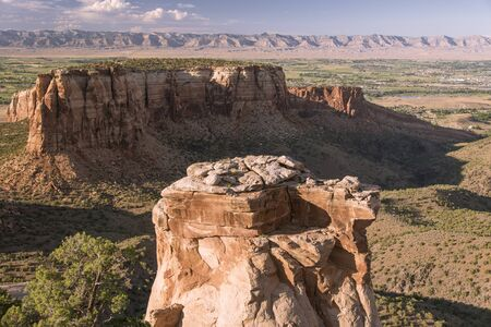 View of Colorado National Monument, USA showing a large rock pillar