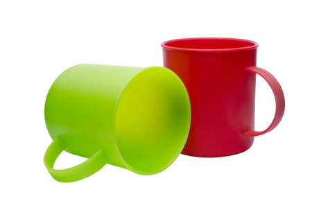 Red and green cups isolated on white background Stock Photo - 14718819