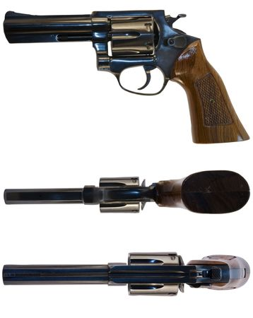 calibre: A .38 calibre revolver shot from the side, from above and from below. White background.