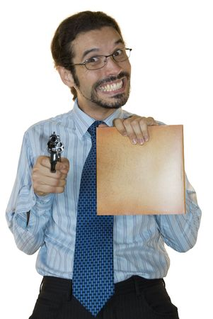sarcastic: Young latino businessman holding a blank folder in one hand and a gun in the other, smiling sarcastically. Stock Photo