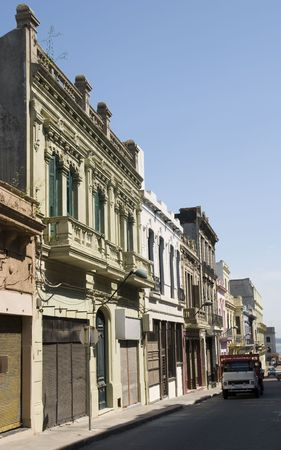 Detail shot of old houses in Montevideo, Uruguay, 2008 Stock Photo