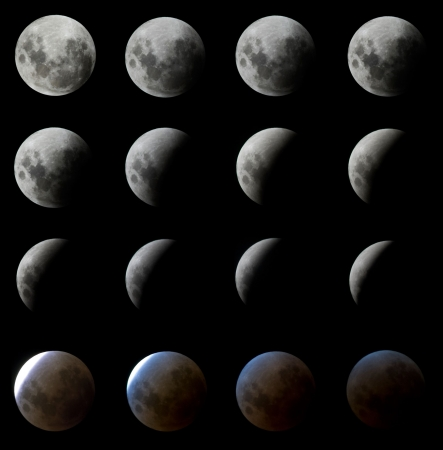 16 digitally enhanced shots of the moon eclipse photographed in intervals of roughly 5 minutes as seen in Porto Alegre, south of Brazil on the night of February 20 to 21. Stock Photo