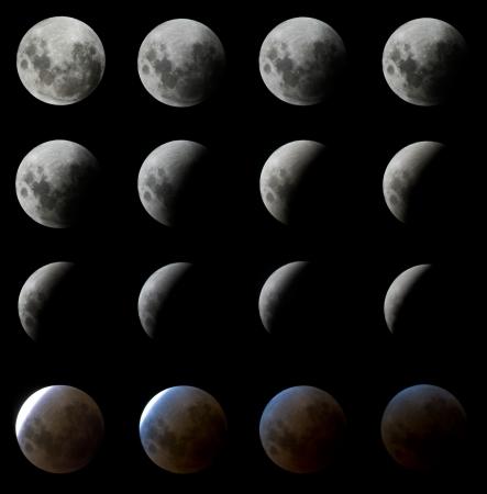 gradual: 16 digitalmente una mayor fotos de la luna eclipse fotografiado a intervalos de aproximadamente 5 minutos como se ha visto en Porto Alegre, al sur de Brasil en la noche de febrero de 20 a 21.