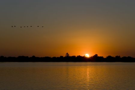 deep orange: Sunset over a calm lake with deep orange hue and silhouette of birds flying by.