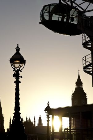 Detail of London Eye seen from Southbank. with Big Ben in the background. Stock Photo - 6252736