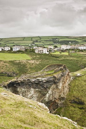 high angle shot: High angle shot of first part of Tintagel Castle in Cornwall, UK