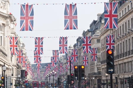 LONDON - APRIL 24: Central London hangs up buntings for Prince William and Catherine Middletons royal wedding celebration to take place April 29 at Westminster Abbey. April 24, 2011 in London, England.