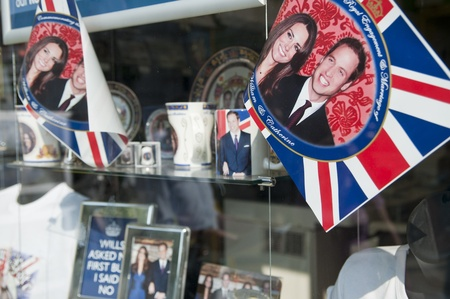 royal wedding: LONDON - APRIL 24: Souvenir shops selling memorabilia for Prince William and Catherine Middletons royal wedding celebration to take place April 29 at Westminster Abbey. April 24, 2011 in London, England.