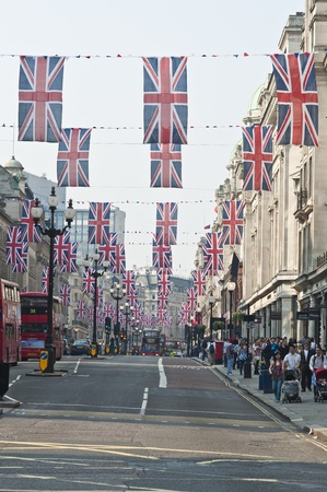 royal wedding: LONDON - APRIL 24: Central London hangs up buntings for Prince William and Catherine Middletons royal wedding celebration to take place April 29 at Westminster Abbey. April 24, 2011 in London, England.