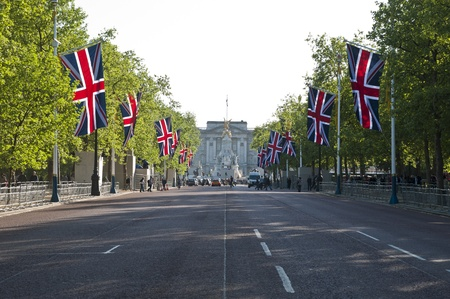 catherine: LONDON - APRIL 27: The Mall decorated with union flags for Prince William and Catherine Middletons royal wedding celebration to take place April 29. April 27, 2011 in London, England.