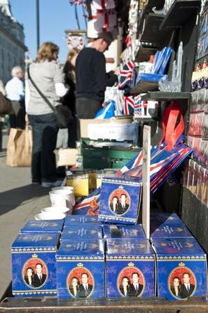 royal wedding: LONDON - APRIL 27: Souvenir shops selling memorabilia for the royal wedding celebration to take place April 29 at Westminster Abbey. April 27, 2011 in London, England.