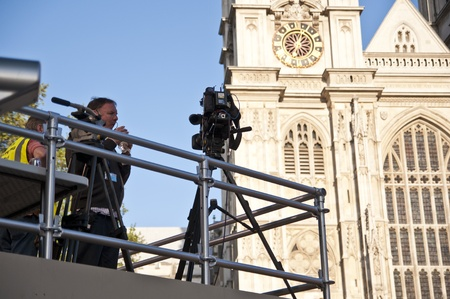 royal wedding: LONDON - APRIL 27: The media is strongly present at Westminster Abbey for Prince William and Catherine Middletons royal wedding celebration to take place April 29. April 27, 2011 in London, England. Editorial