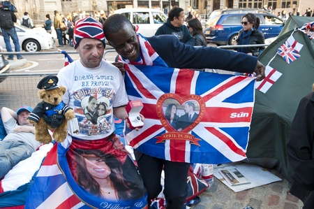 LONDON - APRIL 27: Royal family fans camp to secure a good spot at Westminster Abbey for Prince William and Catherine Middletons royal wedding celebration to take place April 29. April 27, 2011 in London, England. Editorial