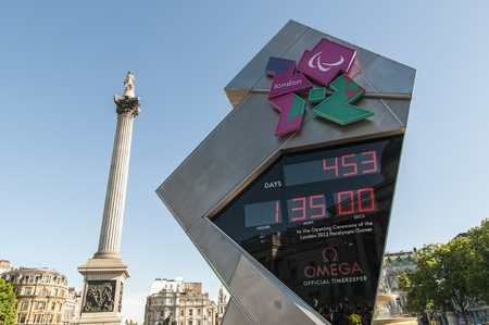 september 9th: LONDON - June 03: Official countdown clock for the Olympic and Paralympic Games 2012, which will run from July 27th to September 9th. June 03, 2011 in London, England.