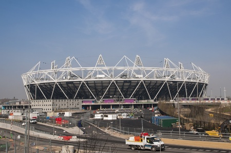 LONDON, UK – MARCH 24: London Olympics Stadium with its construction site on March 24, 2012 in London. The Olympic Park is due to be ready in summer for the games.