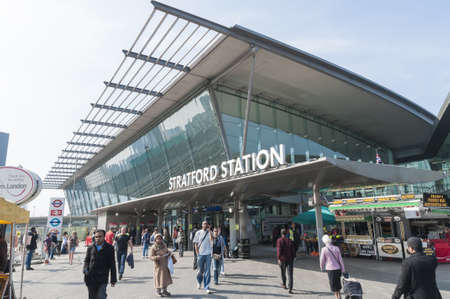 LONDON, UK - MARCH 24: Entrance of Stratford Station, the main station to serve the sports competition Games in 2012. March 24, 2012 in London. The station suffered major redevelopment works for the sports competitions.
