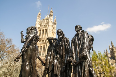 The Burghers of Calais, a sculpture by Rodin at the back of the Houses or Parliament, in London, UK. Stock Photo - 13095566