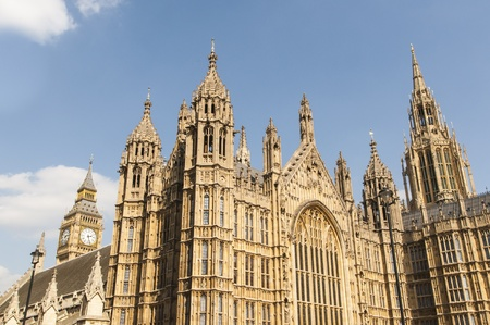 Cropped shot of Houses of Parliament in London, UK, with Big Ben at the far back.