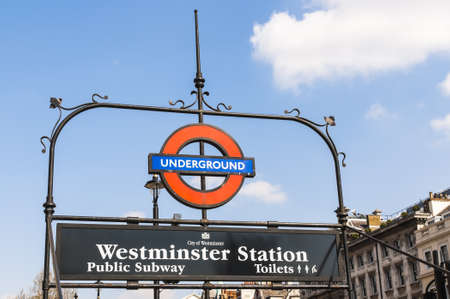 LONDON, UK - APRIL 02: London Underground sign at Westminster entrance. April 02, 2012 in London. Stock Photo - 13062851