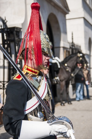 LONDON, UK - APRIL 02: Portrait of Royal Horse Guards in typical outfit. April 02, 2012 in London. Stock Photo - 13062854