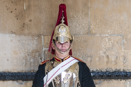 LONDON, UK - APRIL 02: Portrait of Royal Horse Guards in typical outfit. April 02, 2012 in London. Stock Photo - 13062862