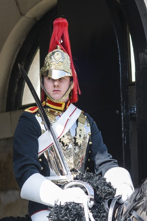 LONDON, UK - APRIL 02: Portrait of mounted Royal Horse Guard in typical outfit. April 02, 2012 in London.