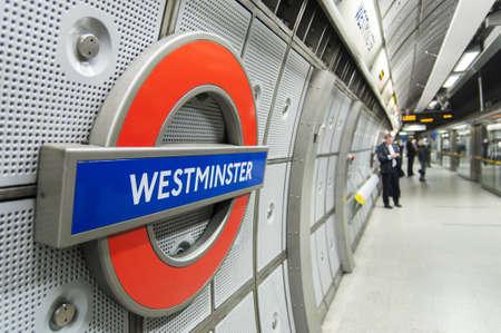 LONDON, UK - APRIL 02: London Underground sign inside Westminster station. April 02, 2012 in London.