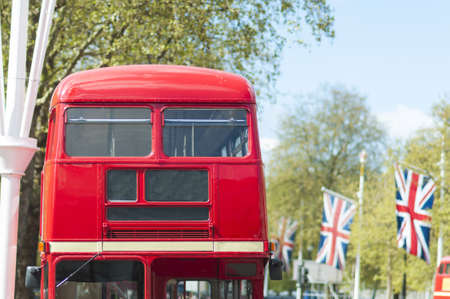 Cropped front shot of London red double deck bus with blank information panel.