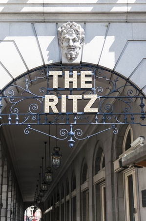 LONDON, UK - APRIL 30: Details of the Ritz hotel entrance. April 30, 2012 in London. The luxury hotel dates back from 1905. Editorial