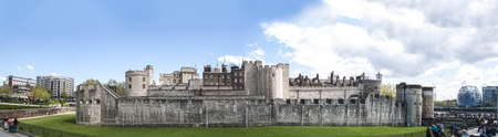 LONDON, UK - APRIL 30: Panoramic shot of the Tower of London. April 30, 2012 in London. The fortress dates back from the 1070s. Stock Photo - 13460523