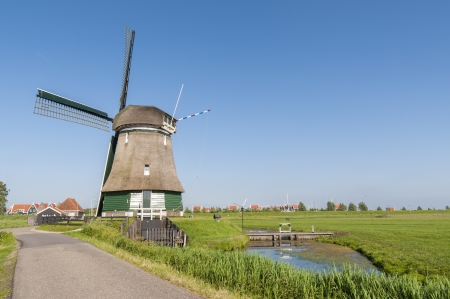volendam: Katwoude windmill in Volendam, Holland, in a bright sunny day Stock Photo
