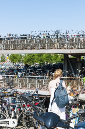 Detail of bicycle parking lot in Amsterdam, Holland. photo