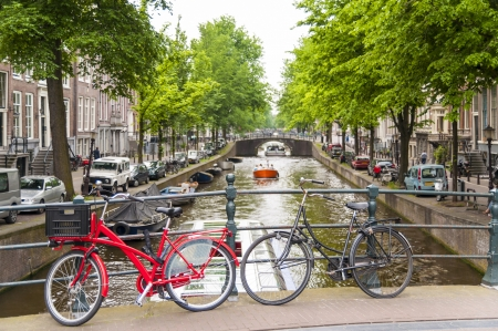 Detail of bicycles locked on top of bridge in Amsterdam, Holland, with traditional canal in the background. photo