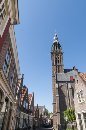 EDAM, HOLLAND - MAY 28: Detail of street leading to Carillon tower, which houses the oldest clockwork in the Netherlands, dating from 1561 May 28, 2012 in Edam.